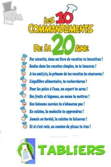 Tablier les 10 commandements de la 20aine