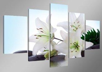 Tableau fleur 5 morçeaux