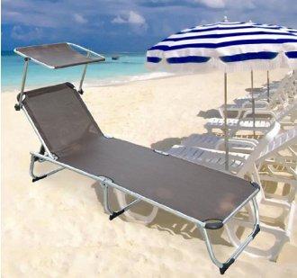 Chaise longue avec pare soleil