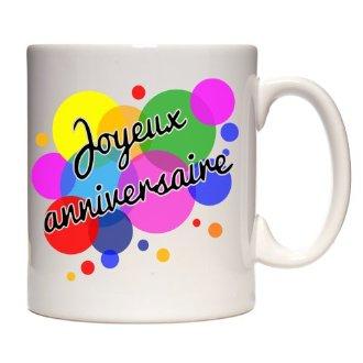 Mug joyeux anniversaire couleurs