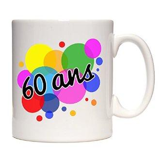 Mug 60 ans bulles de couleurs