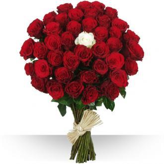 Bouquet Diamant 40 Roses rouges et 1 blanche