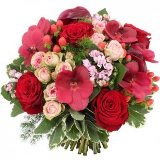 Bouquet Shogun avec orchidée rouge