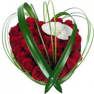 Coeur Deluxe roses et orchidée