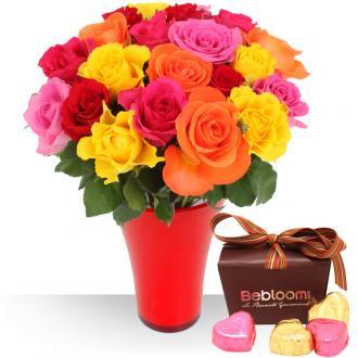 Roses, chocolats et vase