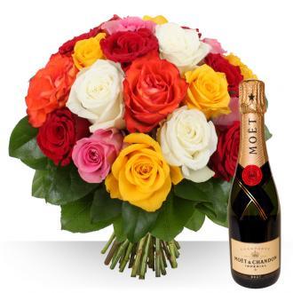 Bouquet de Roses colorées et Champagne