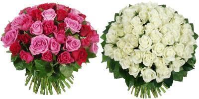 bouquets de roses camaïeu de roses et blanches
